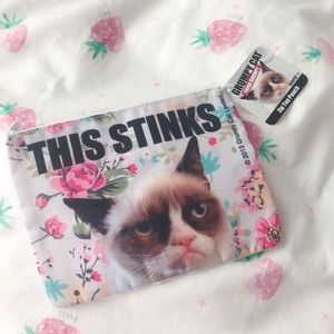 NWT Grumpy Cat Floral Zip Pouch